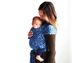 moby wrap designs mazes of milano indigo elasticky satek na noseni deti modra 3