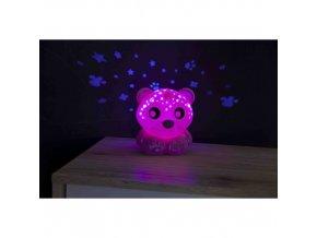 Playgro Usínací lampička medvídek s projektorem - růžový