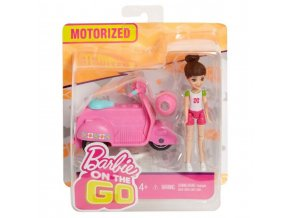 barbie on the go ruzovy skutr