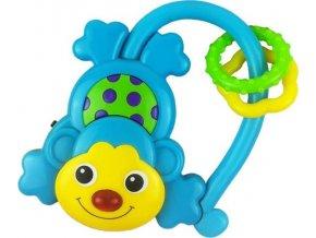 Dětské chrastítko se zvukem Baby Mix Opička modrá