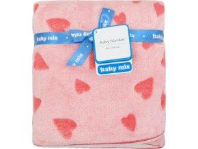 Dětská oboustranná deka Baby Mix růžová se srdíčky