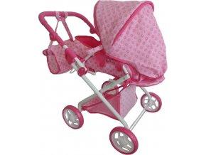 Dětský kočárek pro panenky 2v1 Baby Mix růžový s kytičkami