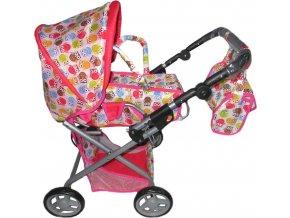 Dětský kočárek pro panenky 2v1 Baby Mix se sovičkami