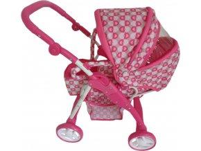 Dětský kočárek pro panenky 2v1 Baby Mix růžový - srdíčka