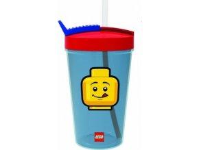 LEGO ICONIC Classic kelímek s brčkem červená-modrá