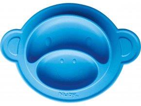 Nuby Talíř s přísavkou - Opice 9m+, modrý