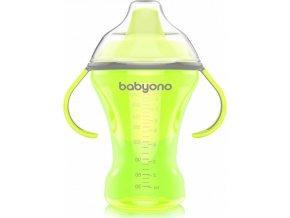 BabyOno Hrnek netekoucí s tvrdým náustkem NATURAL NURSING 260 ml zelený