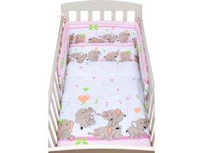 2-dílné ložní povlečení New Baby 100/135 cm růžové se sloníky