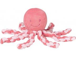 Nattou První hračka miminka chobotnička PIU PIU Lapidou pink coral 0m +