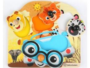 Baby Einstein Hračka dřevěná puzzle Friendy Safari Faces HAPE 12m+