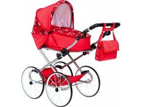 Dětský Retro kočárek pro panenky 2v1 New Baby Elen červený se srdíčky