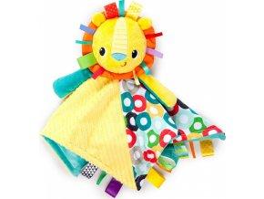 Bright Starts Dečka mazlící s hlavou Cuddle'n Tag lev 35x35cm, 0m+