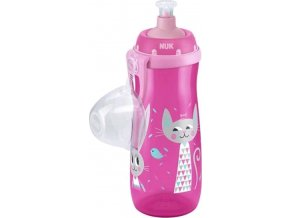 Dětská láhev NUK Sports Cup králiček a kočička 450 ml růžová