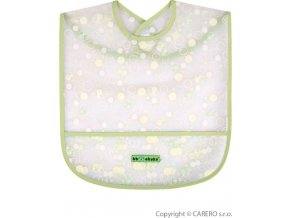 Dětský bryndák s kapsičkou Akuku zelený s bublinkami