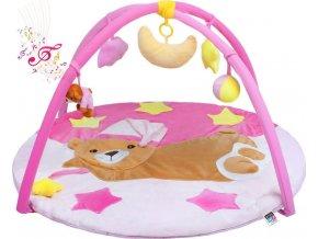 Hrací deka s melodií PlayTo spící medvídek růžová