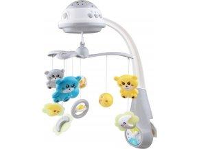 Kolotoč nad postýlku se světelným projektorem Baby Mix grey