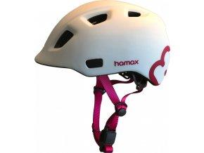 Hamax Cyklohelma Thundercap bílá / růžové pásky 52-57