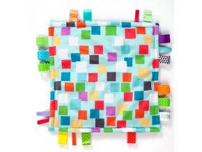 Bright Starts Dečka mazlící Little Taggies čtverečky 30x30cm, 0m+