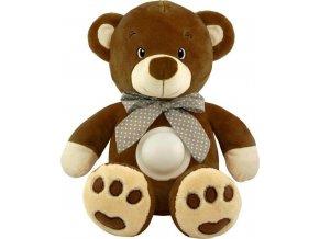 Plyšový usínáček medvídek s projektorem Baby Mix tmavě hnědý