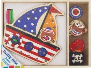 Dřevěná provlékací hračka Baby Mix Lodička