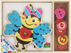 Dřevěná provlékací hračka Baby Mix Včelka