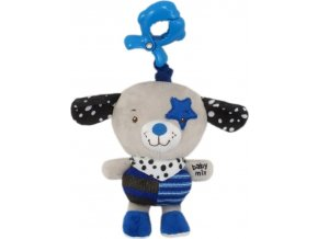 Dětská plyšová hračka s hracím strojkem Baby Mix pejsek modrá