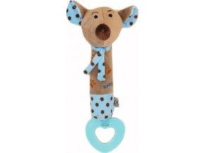 Dětská pískací plyšová hračka s kousátkem Baby Mix myška modrá