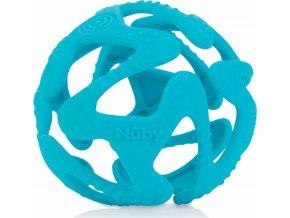Nuby Kousátko silikonová míč světle modrá 3m+