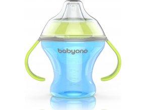 BabyOno Hrnek netekoucí s měkkým náustkem NATURAL NURSING 180 ml modrý