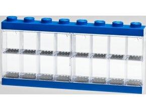 LEGO vitrínka na 16 minifigurek modrá