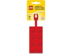 LEGO Jmenovka na zavazadlo - kostka 2x4, červená
