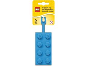 LEGO Jmenovka na zavazadlo - kostka 2x4, modrá