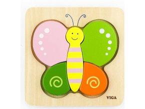 Dřevěné puzzle pro nejmenší Viga Motýl