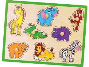 Dětské dřevěné puzzle s úchyty Viga ZOO