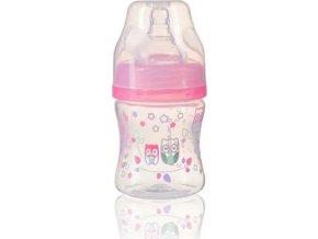 BabyOno Kojenecká antikoliková láhev široké hrdlo ružová 120 ml 0m+