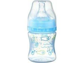 BabyOno Kojenecká antikoliková láhev široké hrdlo modrá 120 ml 0m+