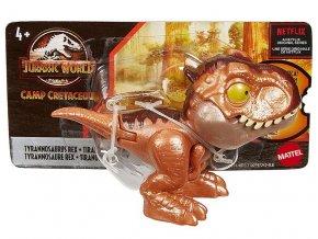 Jursky svet SNAP SQUAD Tyranosaurus rex hnedy s pohyblivou celisti