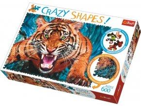 Puzzle Crazy Shapes Tváří v tvář tygrovi 600 dílků