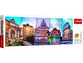 Puzzle panoramatické Cestování do Itálie 500 dílků