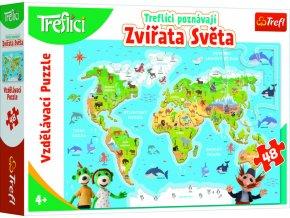 Vzdělávací puzzle 48 - Treflíci poznávají zvířata světa