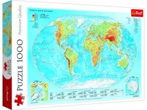 Puzzle Fyzická mapa světa 1000 dílků