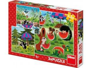 Puzzle 3x55 dílků Krteček a paraplíčko