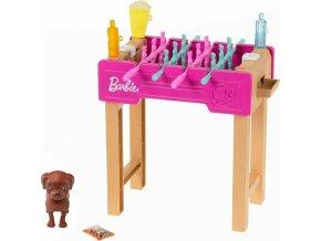 Barbie mini herní set s mazlíčkem stolní fotbálek
