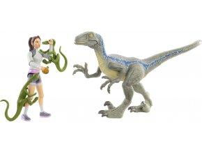 jursky svet kridovy kemp clovek a dinosaurus Yaz a velociraptor Blue 2