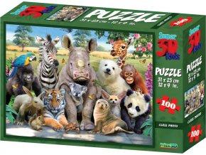 Puzzle 3D 100 dílků safari