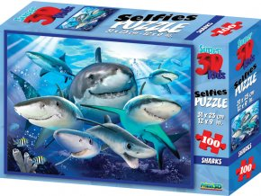 Puzzle 3D 100 dílků žraloci
