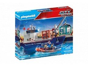 PLAYMOBIL 70769 velka kontejenrova lod s celnim clunem 1