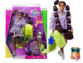 Barbie Extra Stylová dlouhovláska se zeleným boa a mazlíčkem