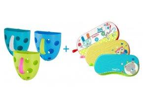 Box na hračky do vane a podložka pod kolená zelená