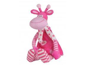 Hračka hrací žirafa růžová 53 cm, 0m+